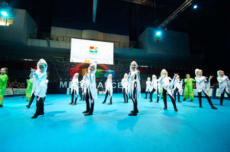 simultaneous: MINSK - NOVEMBER 26: children group dance at International MegaDance competition, on November 26, 2016 in Minsk, Belarus.