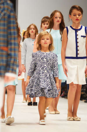 MINSK-OCTOBER 29: An unidentified girl wears Dolce Vita collection at the international exhibition of the fashion industry, Kids fashion day during Belarus Fashion Week on October 29, 2017 in Minsk, Belarus. Editorial