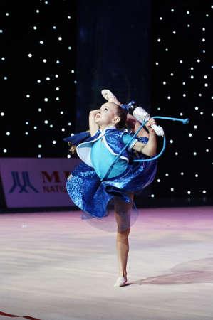 MINSK, BELARUS DECEMBER 22: unidentified young gymnast participates in Baby-Cup BelSwissBank childrens competitions in gymnastics , 22 December 2018 in Minsk, Belarus. Publikacyjne