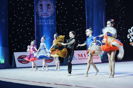 Unidentified young gymnast participates in 'Baby-Cup BelSwissBank' children's competitions in gymnastics , 22 December 2018 in Minsk, Belarus. Publikacyjne