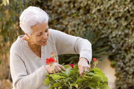 senior lady taking care of her plants photo