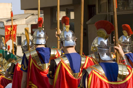 roman soldiers: Roman soldiers marching for Easter with their colorful uniforms