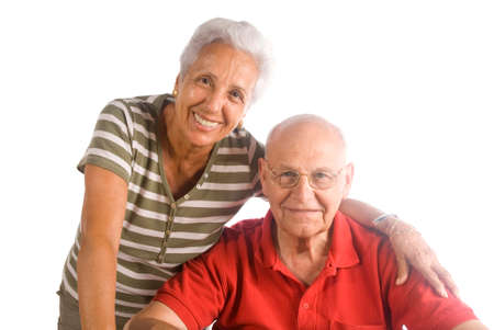 A loving, handsome senior couple on a white background Stock Photo - 1716607