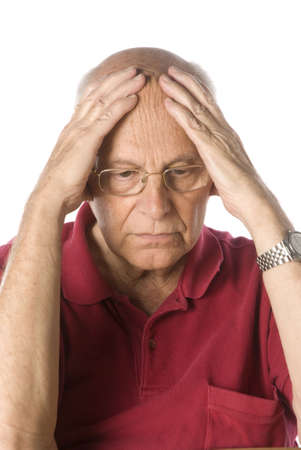 wrinkled brow: Worried senior man Stock Photo