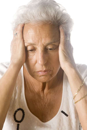 perturbed: Worried senior woman Stock Photo