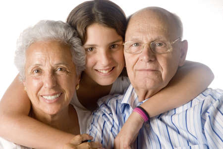 granddaughter embracing her grandparents Stock Photo - 2093346