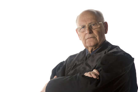 judge: male judge portrait over a white background