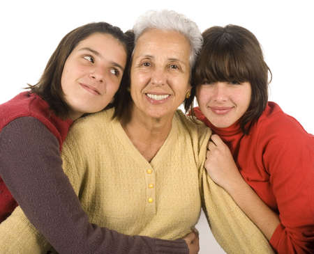 Two adolescent girls with their grandmother Stock Photo - 2489853