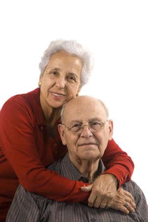 Loving, handsome senior couple on a white background Stock Photo - 2489849