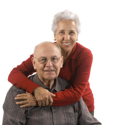 Loving, handsome senior couple on a white background Stock Photo - 2489759