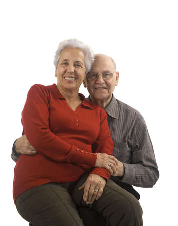 Loving, handsome senior couple on a white background Stock Photo - 2489768