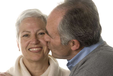 Mature husband still in love kissing his wife Stock Photo - 2626836