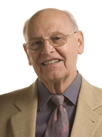 distinguished: Senior distinguished business man over white background