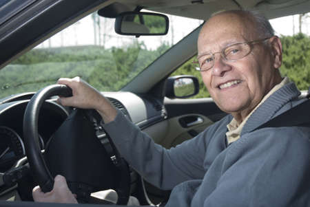 citizen: Happy senior man out for a drive