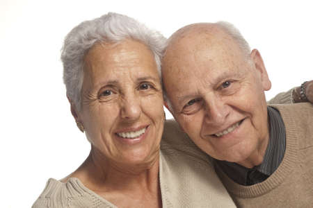 elderly couples: Loving, handsome senior couple on a white background Stock Photo
