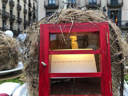 Barcelona, Catalunya, Spain, December 12, 2018. Close up of the artistic proposal about Christmas by Sebasti?n Brossa in Pla?a Sant Jaume in Barcelona