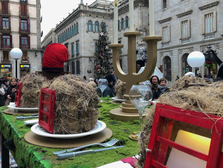 Barcelona, Catalunya, Spain, December, 2018. Long shot of the artistic proposal about Christmas by Sebasti?n Brossa in Pla?a Sant Jaume in Barcelona