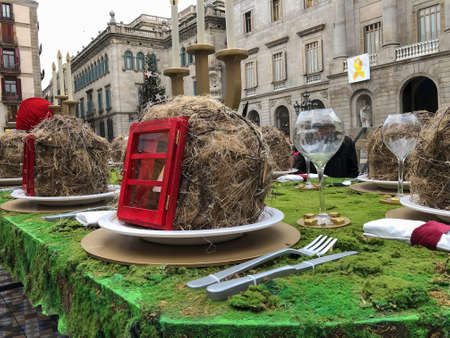 Barcelona, Catalonia, Spain, December, 12, 2018. Long shot of the artistic proposal about Christmas by Sebasti?n Brossa in Pla?a Sant Jaume in Barcelona