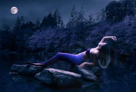 Mermaid at night