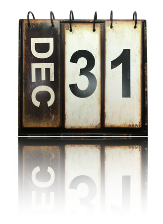 December 31 with vintage calendar and reflection on white background