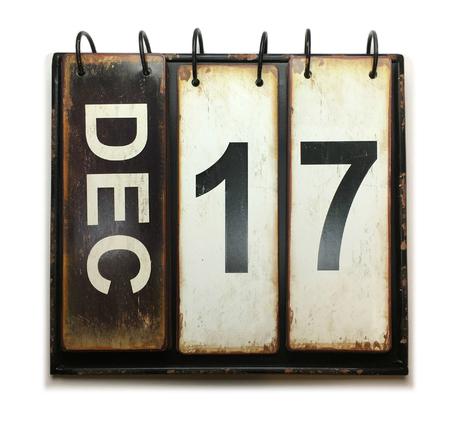 December 17 with vintage calendar on white background