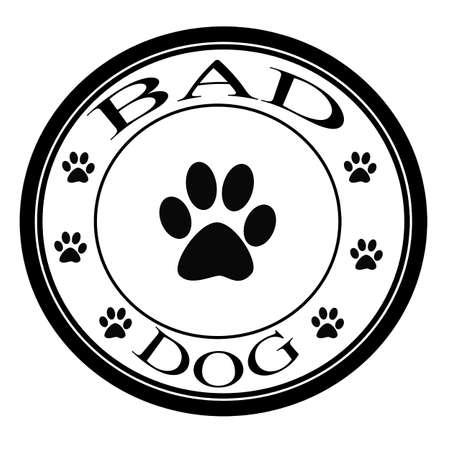 Stamp with words bad dog inside, vector illustration