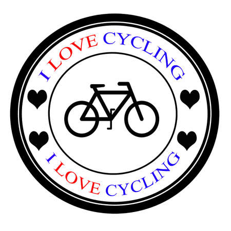 Stamp with text i love cycling inside, vector illustration