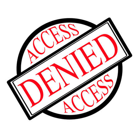 denied: Access denied label, vector illustration