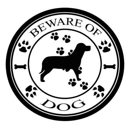 Stamp with text beware of dog  inside, vector illustration Vector