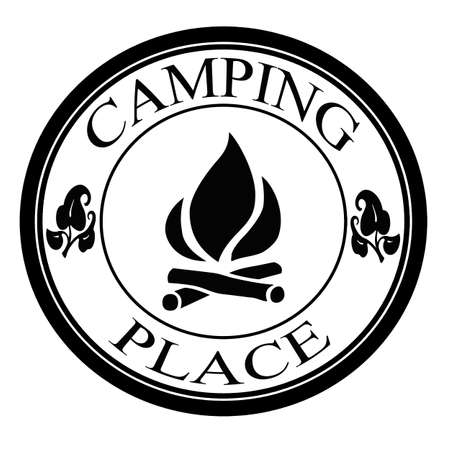Camping place label, vector illustration
