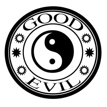good and evil: Good evil label, vector illustration