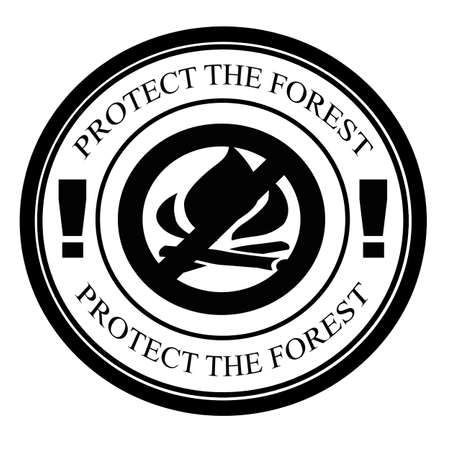 shielded: Stamp witrh text protect the forest inside, vector illustration