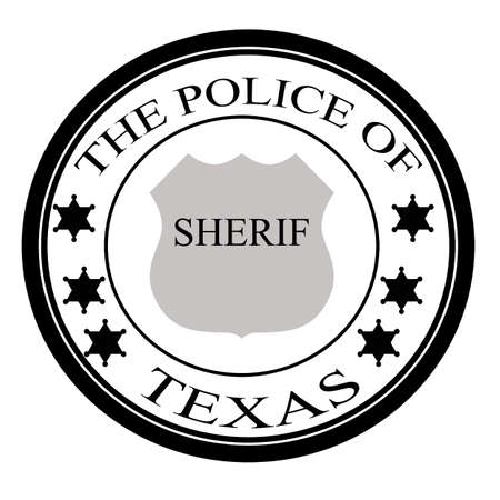 sherif: Stamp with text the police of Texas inside, vector illustration