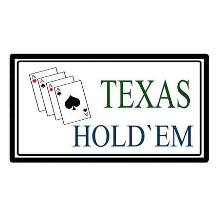 texas hold em: Texas hold em etiqueta, ilustraci�n vectorial Vectores