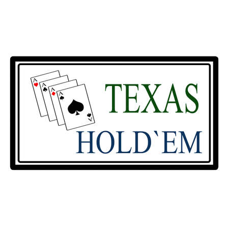 em: Texas hold em label, vector illustration Illustration