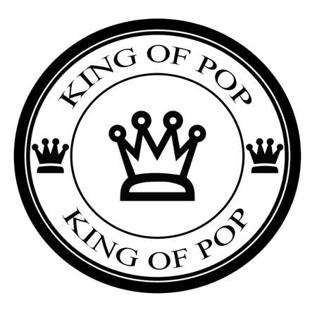 Stamp with text king of pop inside, vector illustration