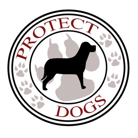 shielded: Stamp with text protect dogs inside,vector illustration