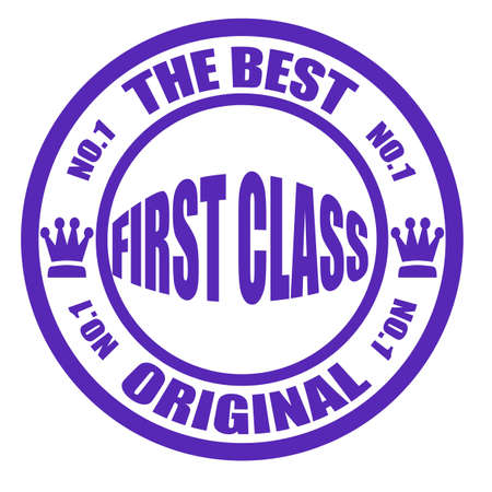 first class: Stamp with text the best first class original inside, illustration