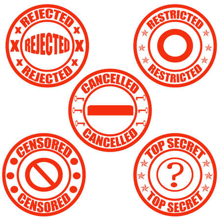 censored: Set of stamps with words rejected, restricted, cancelled, censored and top secret inside, illustration