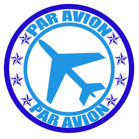 avion: Stamp with word par avion inside, illustration