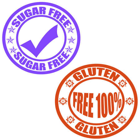 Set of stamps with text sugar free and free gluten inside, illustration