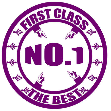 first class: Stamp with text first class, the best inside, illustration