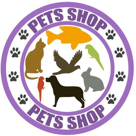 Stamp with words pets, shop inside, illustration
