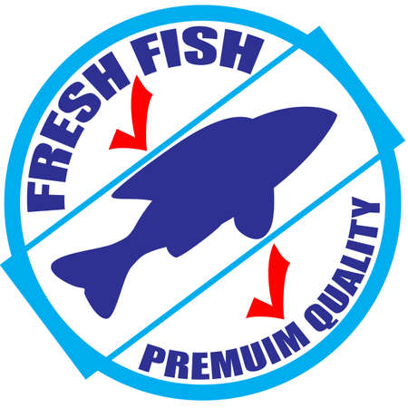Stamp with text fresh fish inside, illustration Illustration