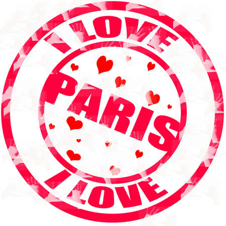 Stamp with text i love Paris inside, vector illustration