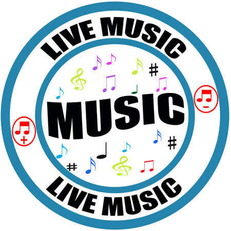 Stamp with text live music inside, vector illustration