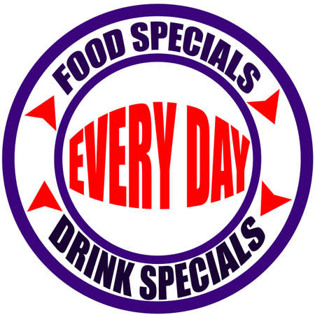 Stamp with text food specials inside, vector illustration