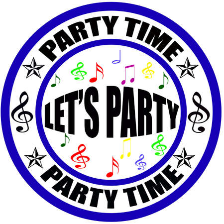 Stamp with text party time inside, vector illustration