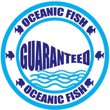 대양의: Stamp with text oceanic fish inside, vector illustration