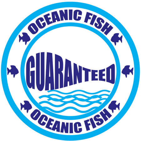 oceanic: Stamp with text oceanic fish inside, vector illustration